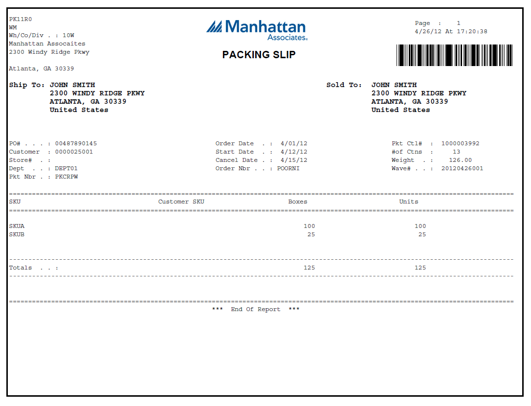 eformz for manhattan inc packing slip