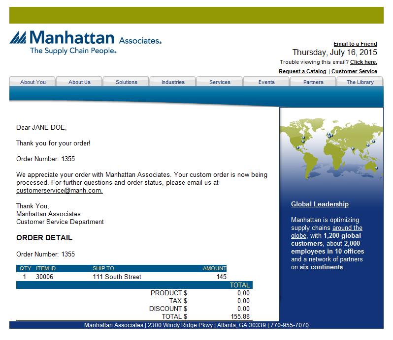 Branded Order Status Email